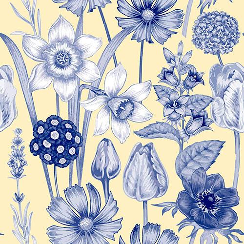 Tela Abelia diseño estampado | Telas estampadas online interiores de inspiración vintage | Descubre nuestras telas para tapizar de colores exclusivos y estampados únicos.