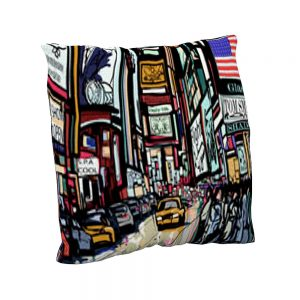 Cojín estampado New York Pop Color | Cojines decorativos vintage personalizados con telas estampadas | Disponibles en todos tipos de telas: telas lisas, telas estampadas, telas vintage y telas para exterior impermeables.