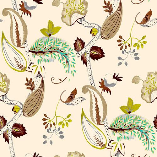 Tela Euphoria Natural 38384 diseño estampado | Telas estampadas online interiores de inspiración vintage | Descubre nuestras telas para tapizar de colores exclusivos y estampados únicos.