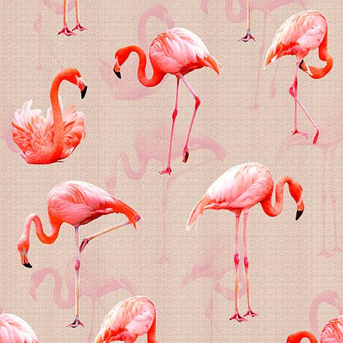 Tela Flamencos 3 diseño estampado | Telas estampadas online interiores de inspiración vintage | Descubre nuestras telas para tapizar de colores exclusivos y estampados únicos.