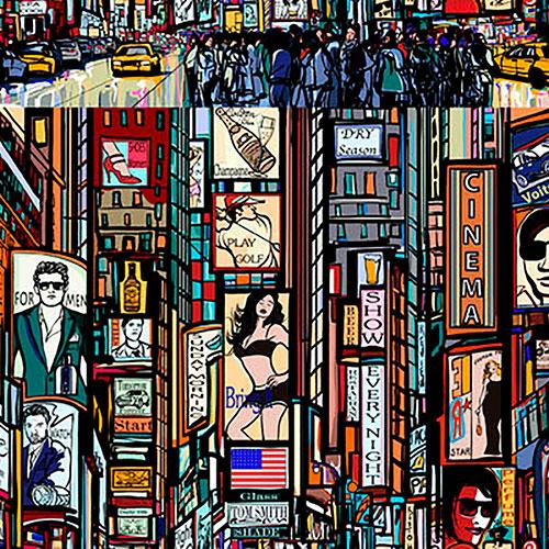 Tela New York Pop Color diseño estampado | Telas estampadas online interiores de inspiración vintage | Descubre nuestras telas para tapizar de colores exclusivos y estampados únicos.