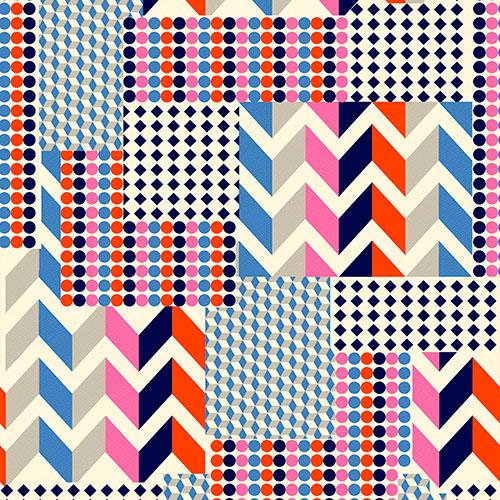 Tela Pas Geo diseño estampado | Telas estampadas online interiores de inspiración vintage | Descubre nuestras telas para tapizar de colores exclusivos y estampados únicos.
