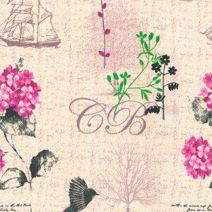 Tela Velero Lila diseño estampado | Telas estampadas online interiores de inspiración vintage | Descubre nuestras telas para tapizar de colores exclusivos y estampados únicos.