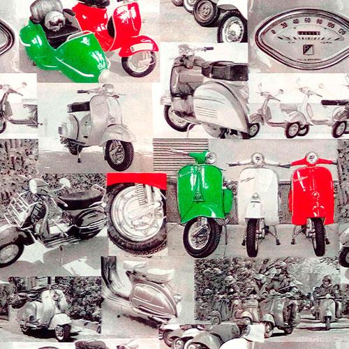 Tela Vespas diseño estampado | Telas estampadas online interiores de inspiración vintage | Descubre nuestras telas para tapizar de colores exclusivos y estampados únicos.
